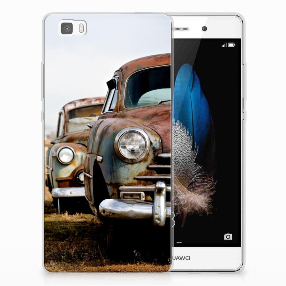 Huawei Ascend P8 Lite Uniek TPU Hoesje Vintage Auto