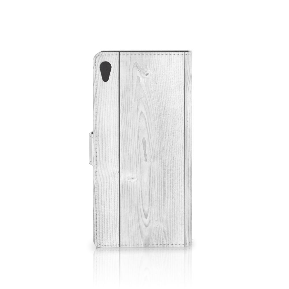Sony Xperia XA Ultra Book Style Case White Wood
