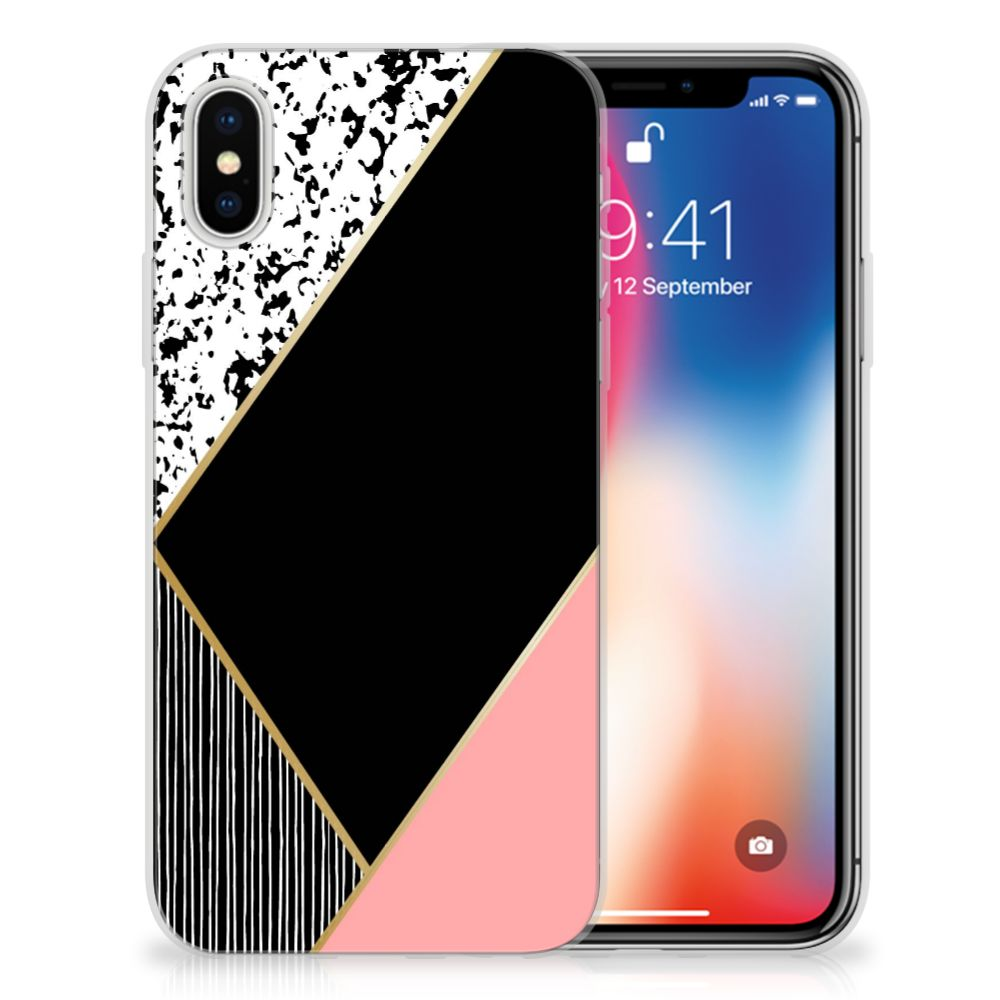 Apple iPhone X | Xs Uniek TPU Hoesje Black Pink Shapes