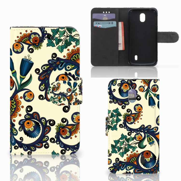 Wallet Case Nokia 1 Barok Flower