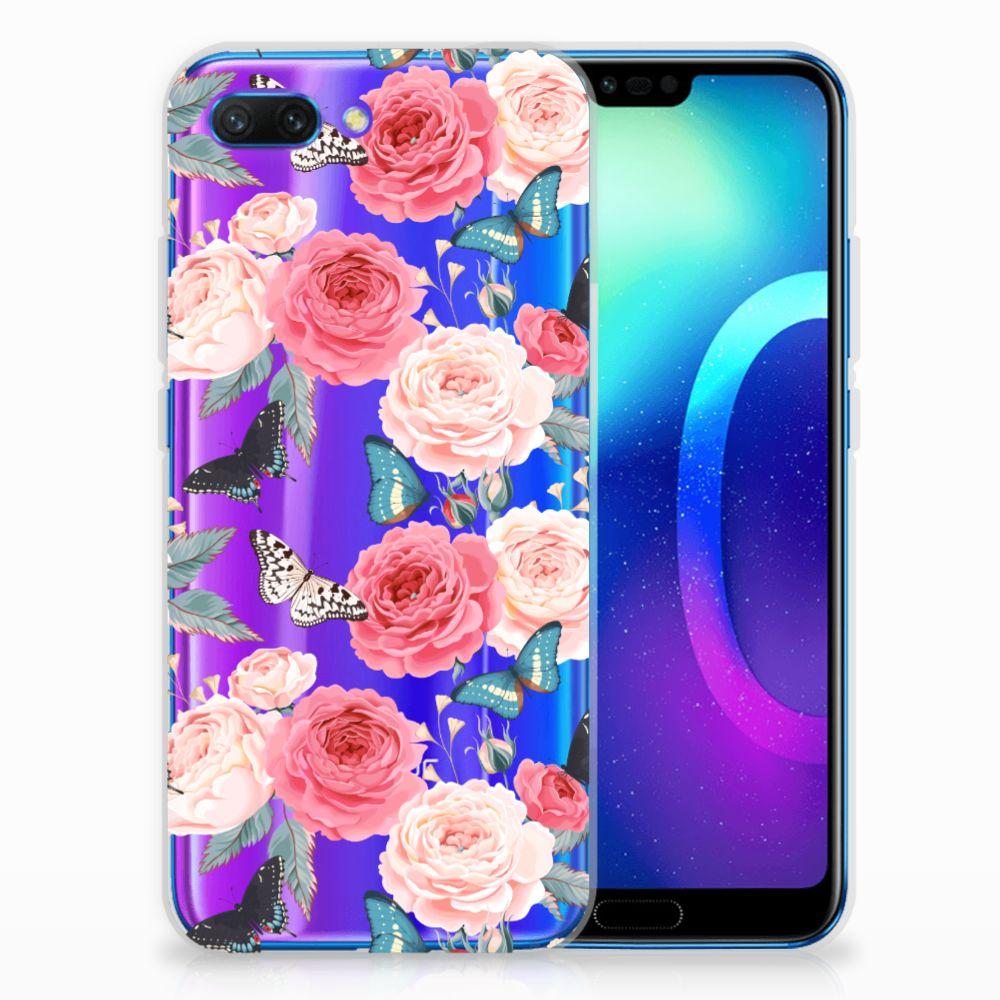 Huawei Honor 10 Uniek TPU Hoesje Butterfly Roses