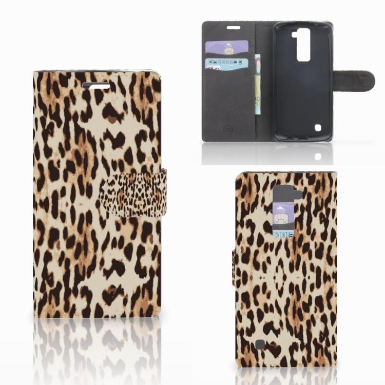 LG K10 2015 Telefoonhoesje met Pasjes Leopard