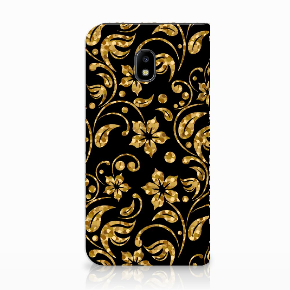 Samsung Galaxy J3 2017 Standcase Hoesje Design Gouden Bloemen