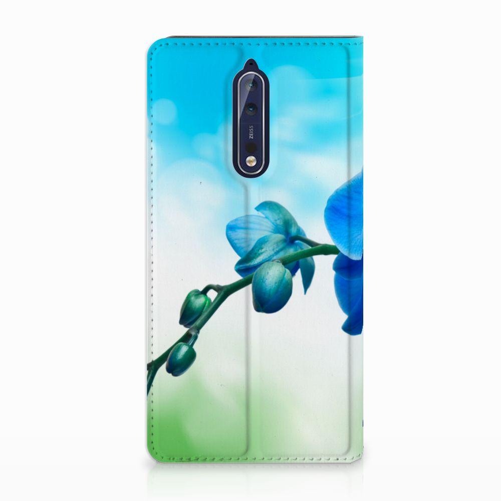 Nokia 8 Standcase Hoesje Design Orchidee Blauw