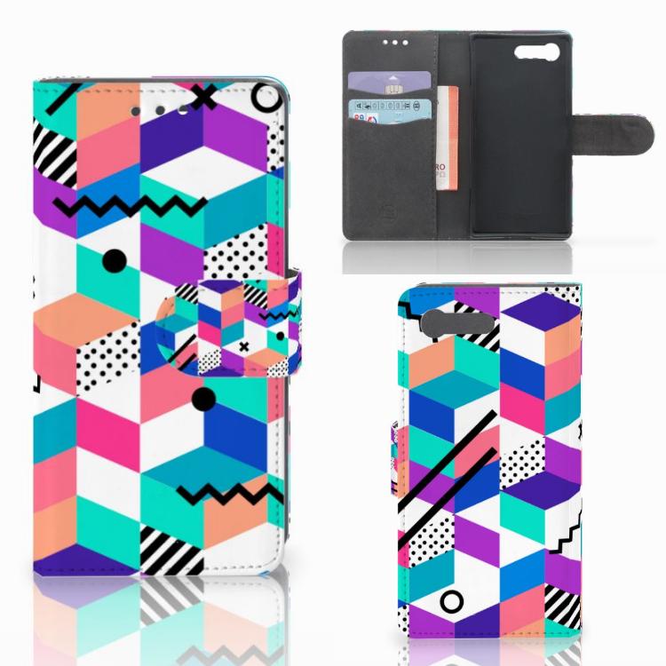 Sony Xperia X Compact Bookcase Blokken Kleurrijk