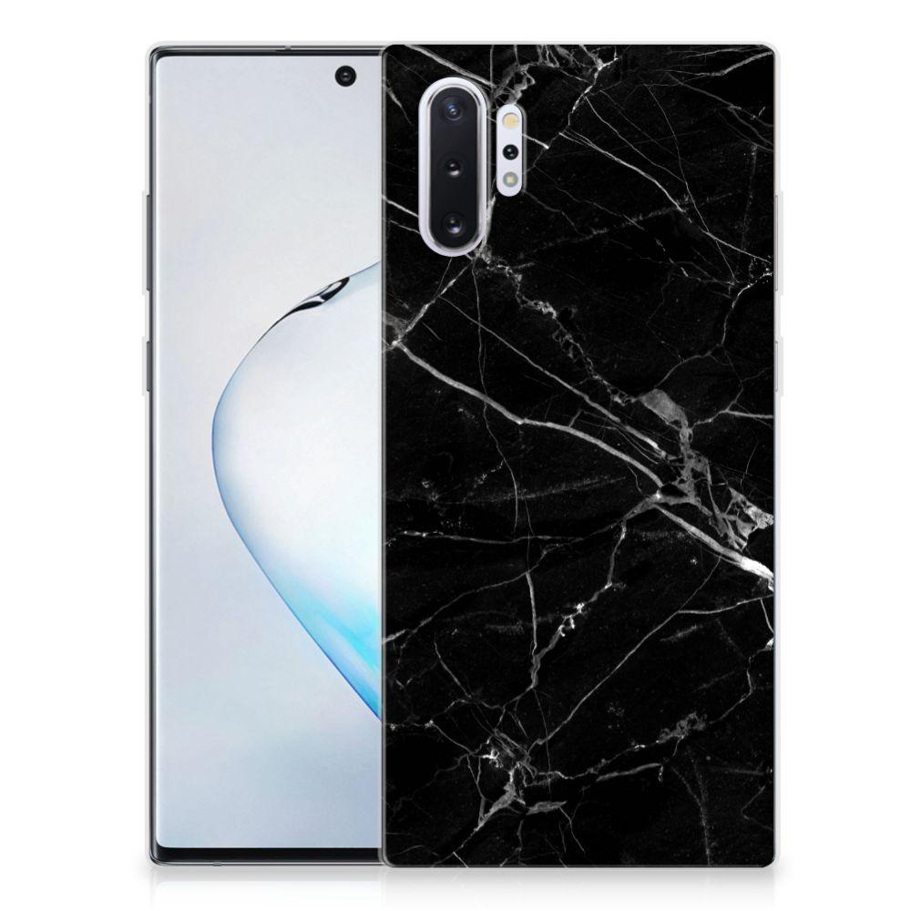 Samsung Galaxy Note 10 Plus TPU Siliconen Hoesje Marmer Zwart - Origineel Cadeau Vader