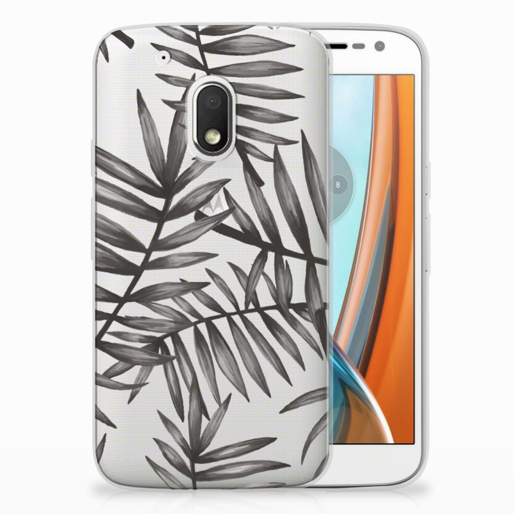 Motorola Moto G4 Play Uniek TPU Hoesje Leaves Grey