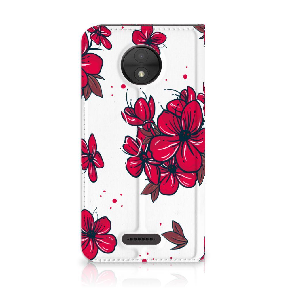 Motorola Moto C Standcase Hoesje Design Blossom Red