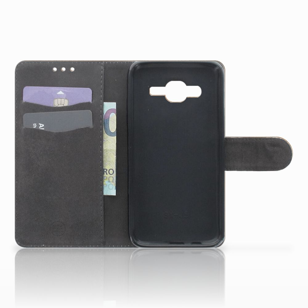 Samsung Galaxy J5 (2015) Book Style Case Donker Hout