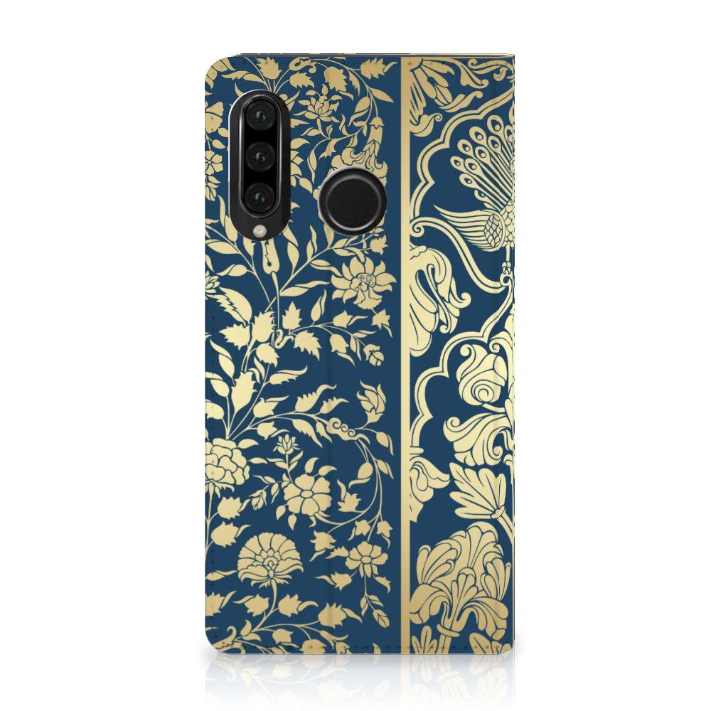 Huawei P30 Lite Standcase Hoesje Golden Flowers