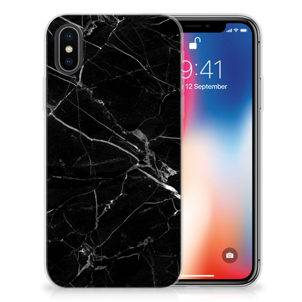 Apple iPhone X | Xs TPU Siliconen Hoesje Marmer Zwart