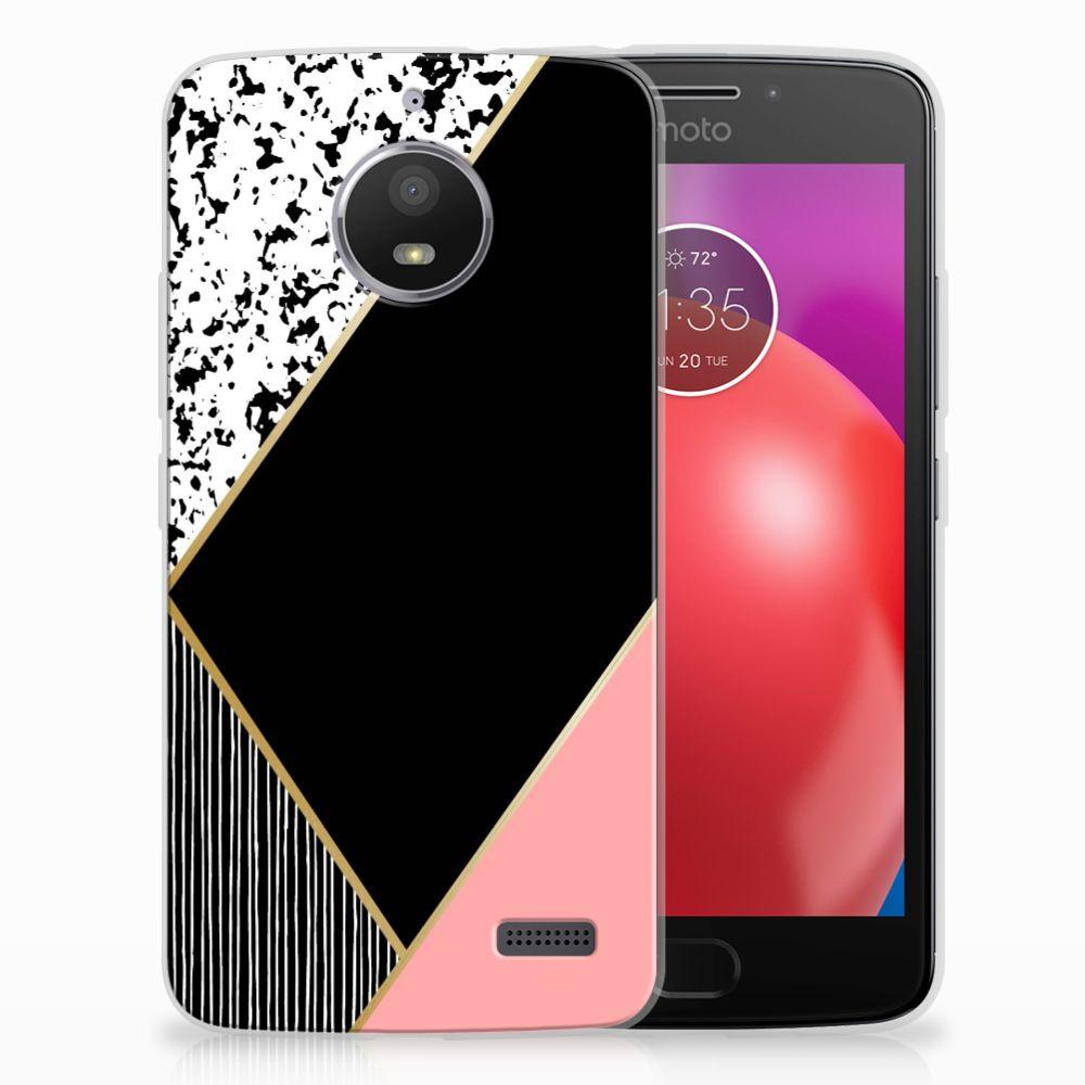 Motorola Moto E4 TPU Hoesje Zwart Roze Vormen