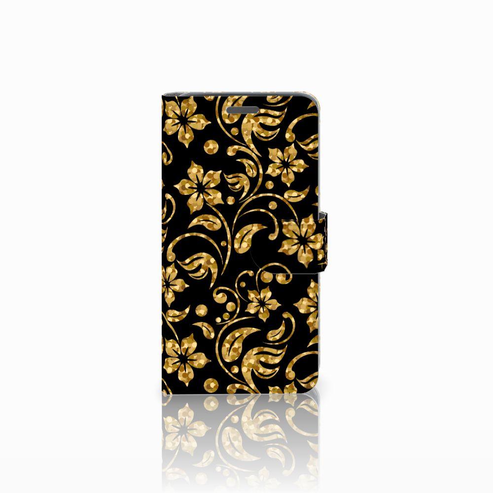Wiko Rainbow Jam Boekhoesje Design Gouden Bloemen