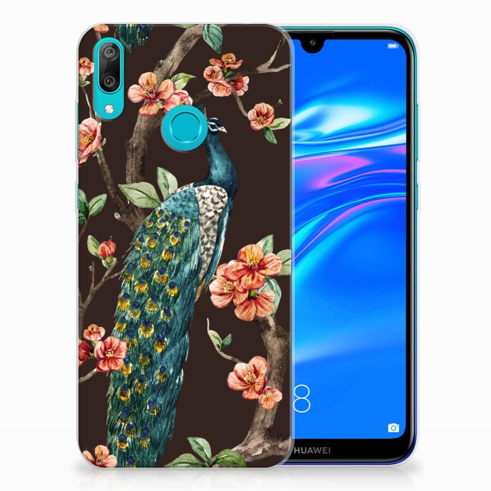 Huawei Y7 2019 TPU Hoesje Pauw met Bloemen