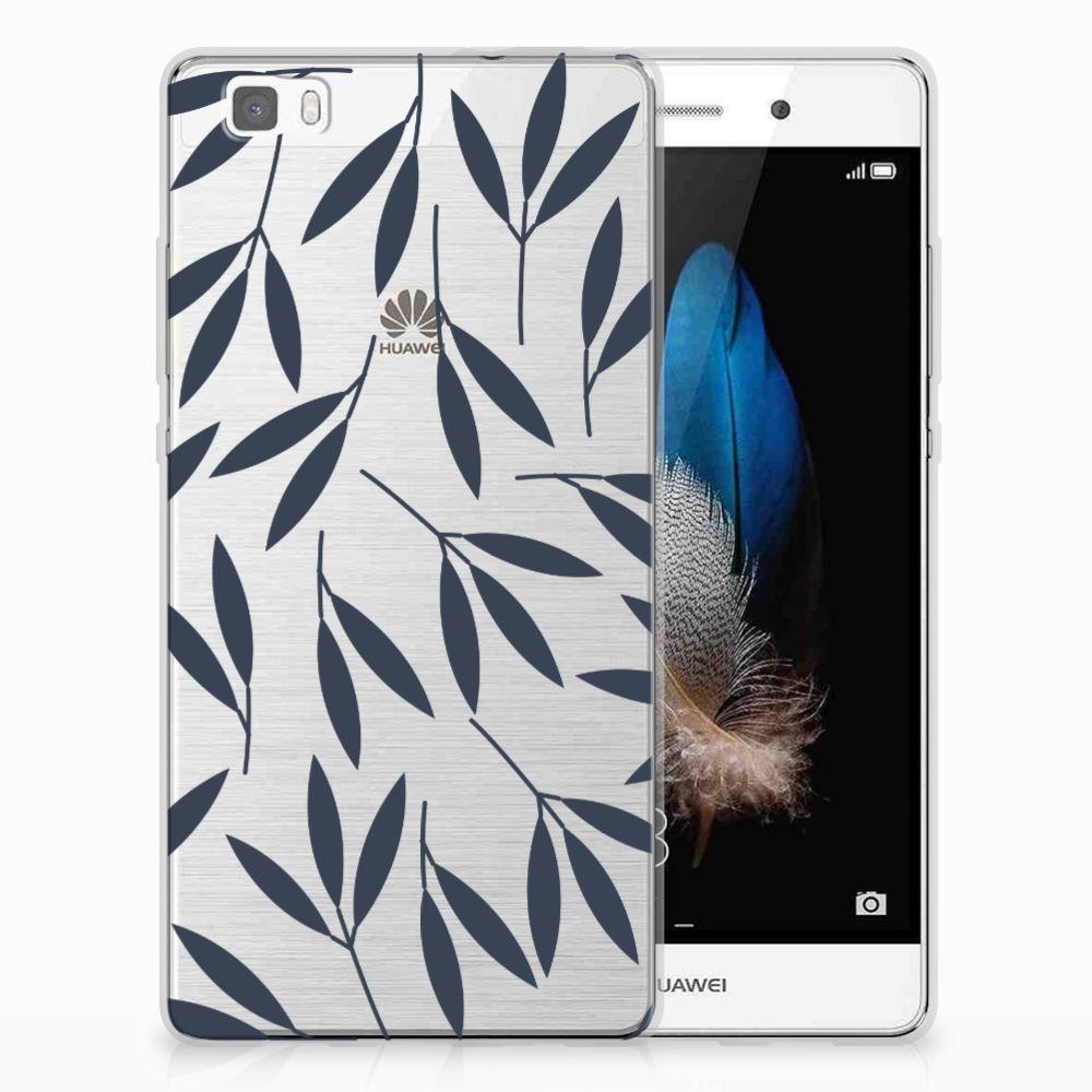 Huawei Ascend P8 Lite TPU Hoesje Design Leaves Blue