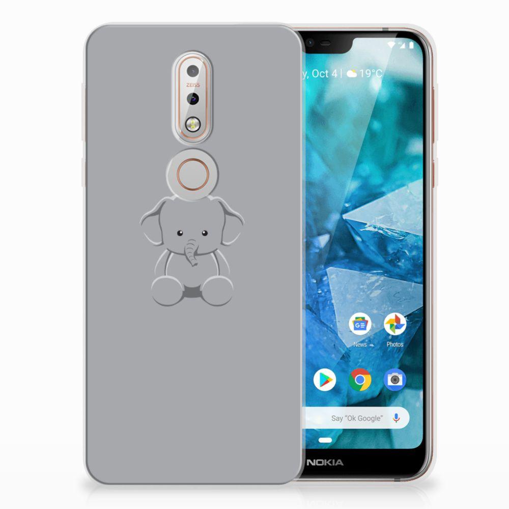 Nokia 7.1 Uniek TPU Hoesje Baby Olifant
