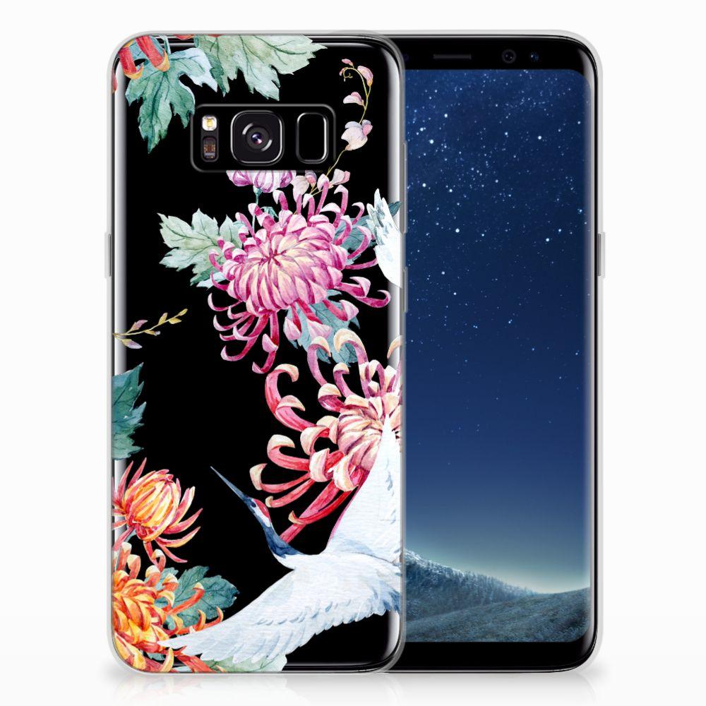 Samsung Galaxy S8 TPU Hoesje Bird Flowers