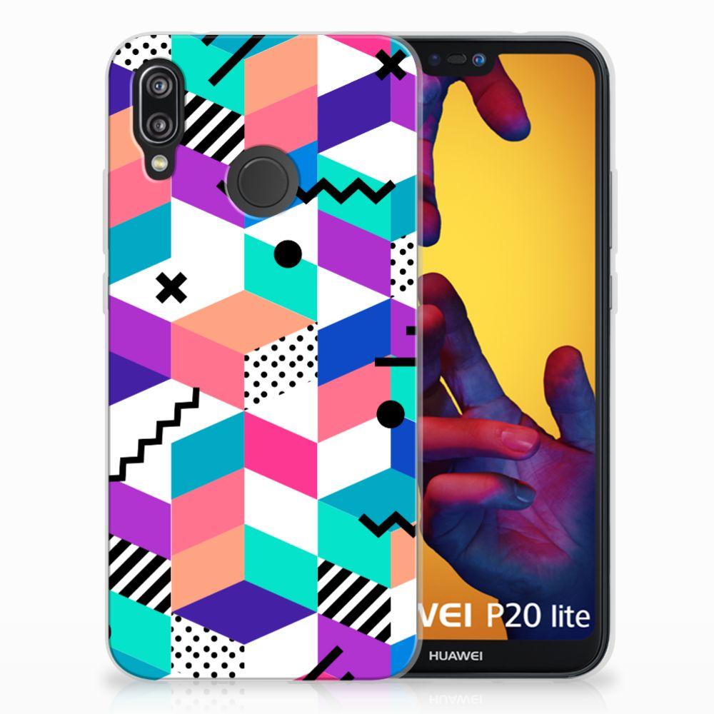 Huawei P20 Lite TPU Hoesje Blokken Kleurrijk