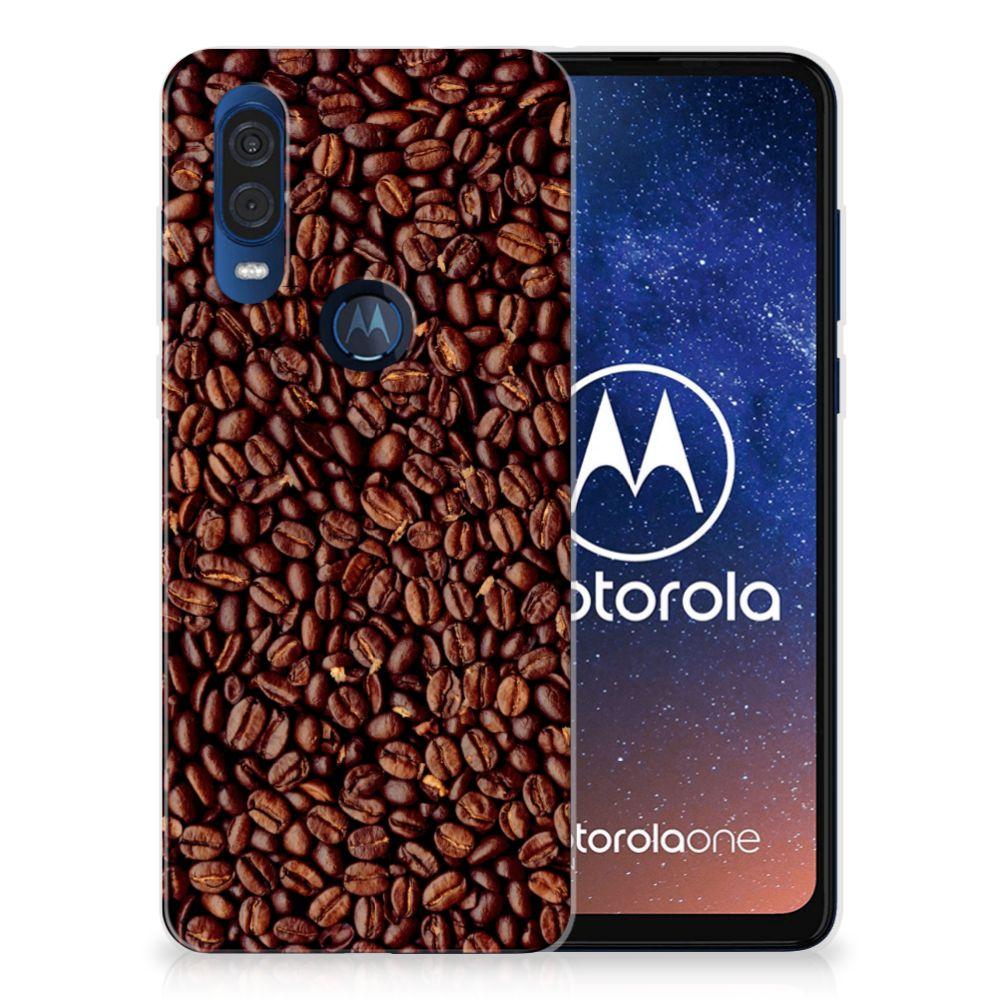 Motorola One Vision Siliconen Case Koffiebonen