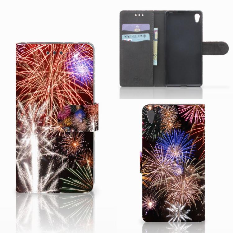 Sony Xperia E5 Wallet Case met Pasjes Vuurwerk