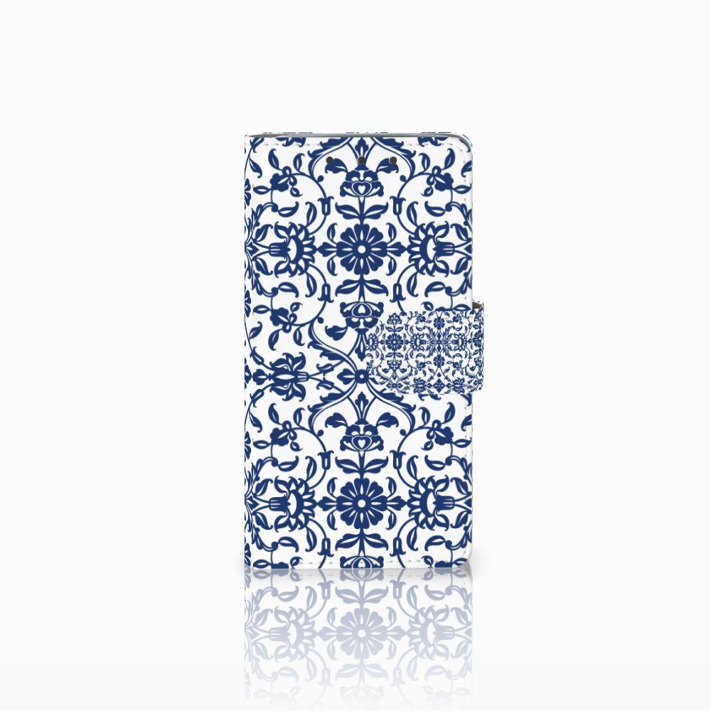 HTC One M7 Boekhoesje Flower Blue