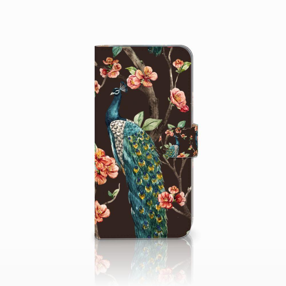 HTC Desire 10 Pro Boekhoesje Design Pauw met Bloemen