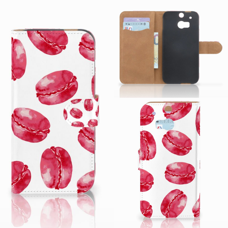 HTC One M8 Book Cover Pink Macarons