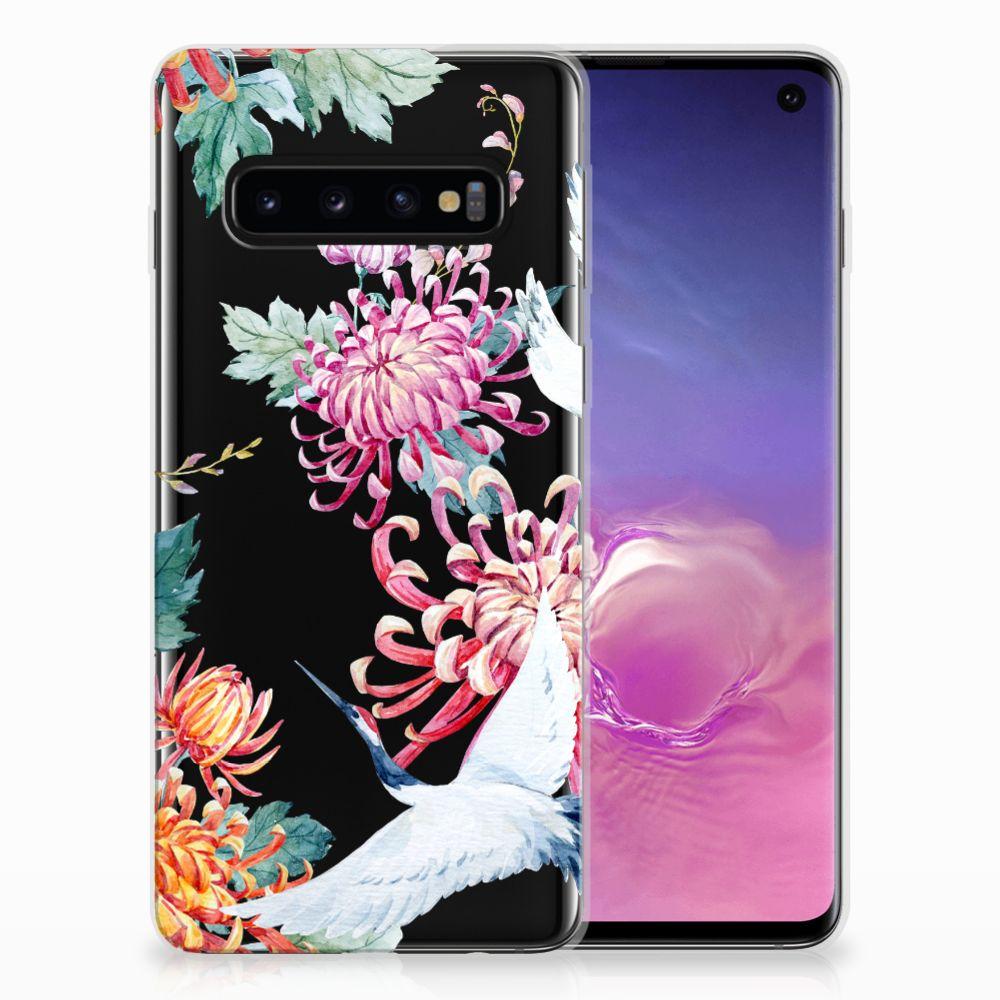 Samsung Galaxy S10 TPU Hoesje Bird Flowers
