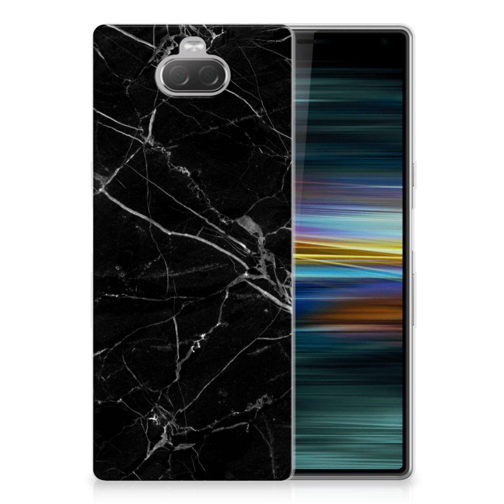 Sony Xperia 10 Plus TPU Siliconen Hoesje Marmer Zwart