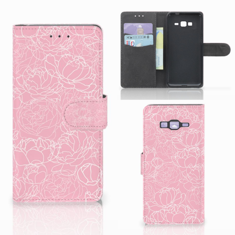 Samsung Galaxy Grand Prime | Grand Prime VE G531F Wallet Case White Flowers
