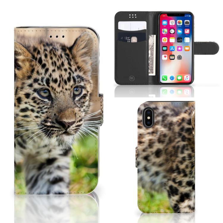 Apple iPhone X | Xs Telefoonhoesje met Pasjes Baby Luipaard