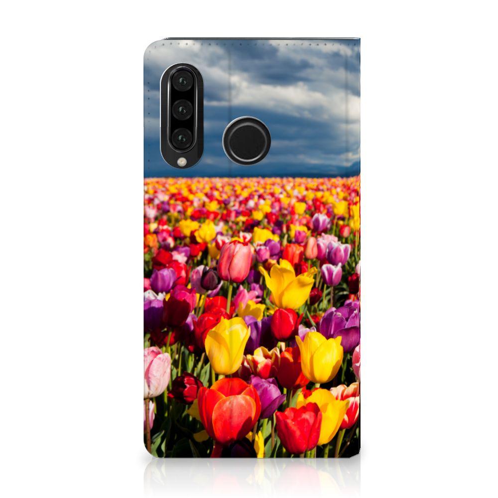 Huawei P30 Lite Uniek Standcase Hoesje Tulpen