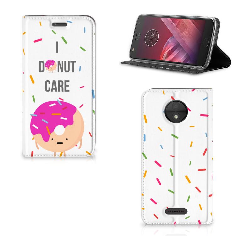 Motorola Moto C Flip Style Cover Donut Roze