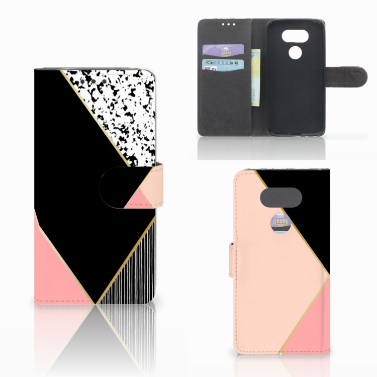 LG G5 Bookcase Zwart Roze Vormen