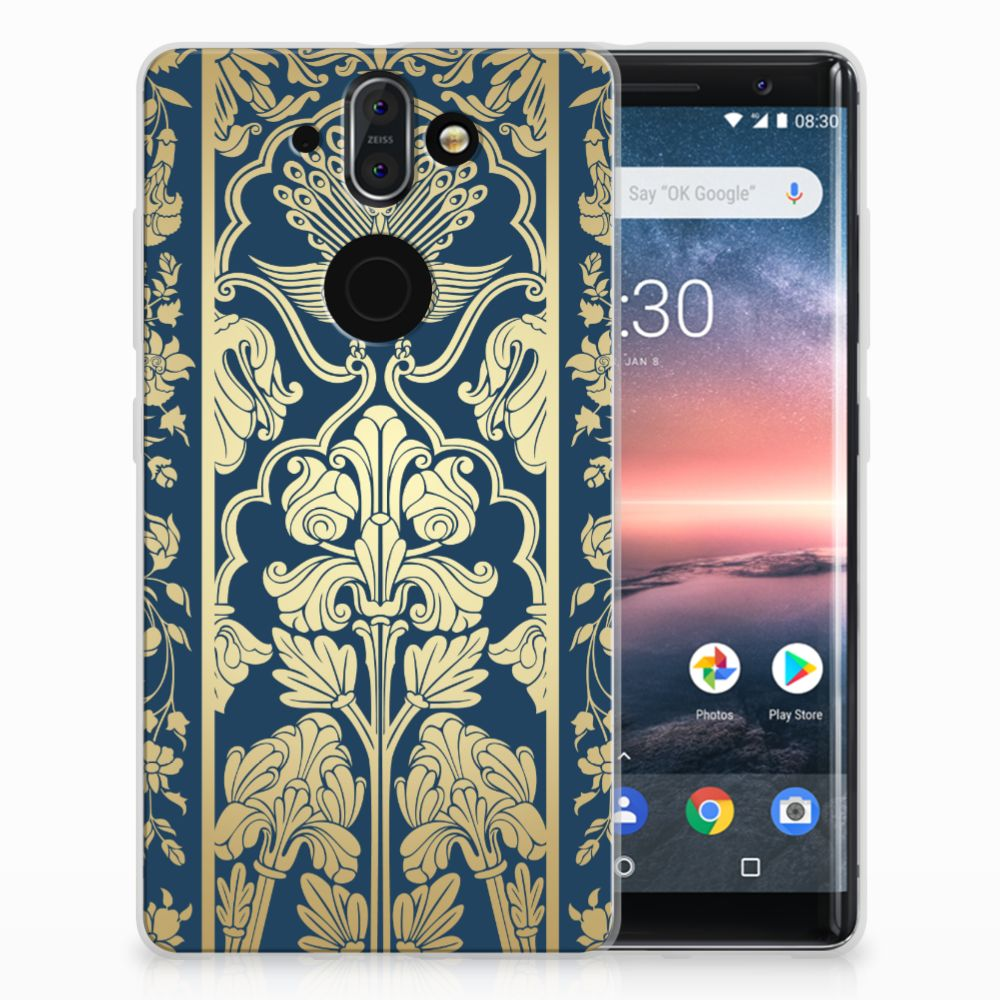 Nokia 9 | 8 Sirocco TPU Hoesje Golden Flowers