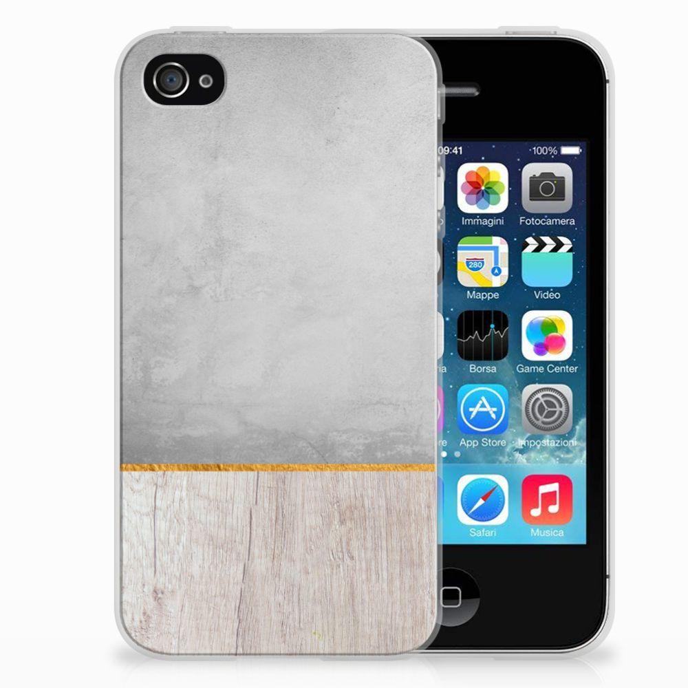 Apple iPhone 4   4s Bumper Hoesje Wood Concrete