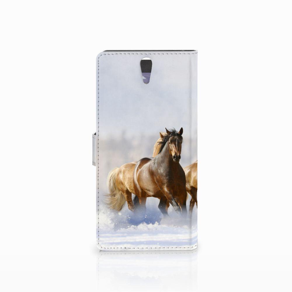 Sony Xperia C5 Ultra Telefoonhoesje met Pasjes Paarden