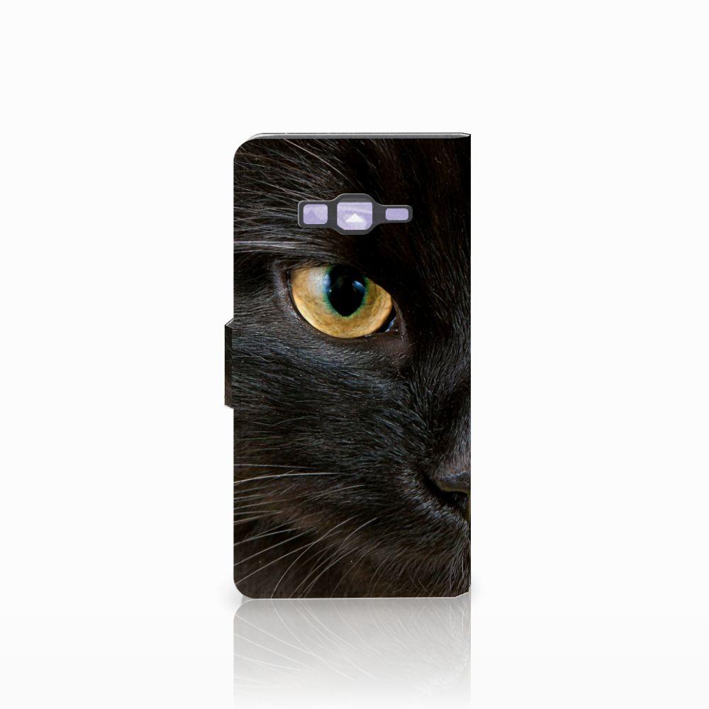 Samsung Galaxy Grand Prime   Grand Prime VE G531F Telefoonhoesje met Pasjes Zwarte Kat