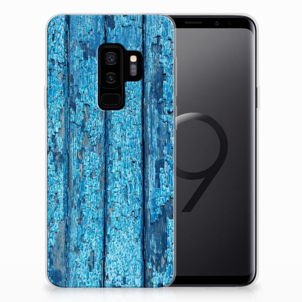 Samsung Galaxy S9 Plus Bumper Hoesje Wood Blue