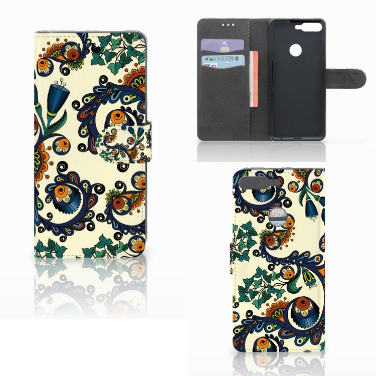 Wallet Case Huawei Y7 2018 Barok Flower