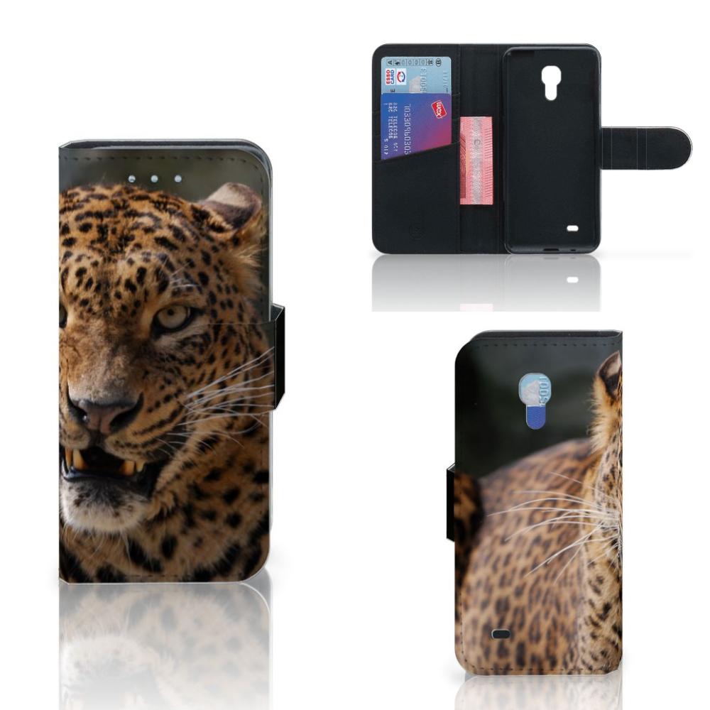 Samsung Galaxy S4 Mini i9190 Telefoonhoesje met Pasjes Luipaard