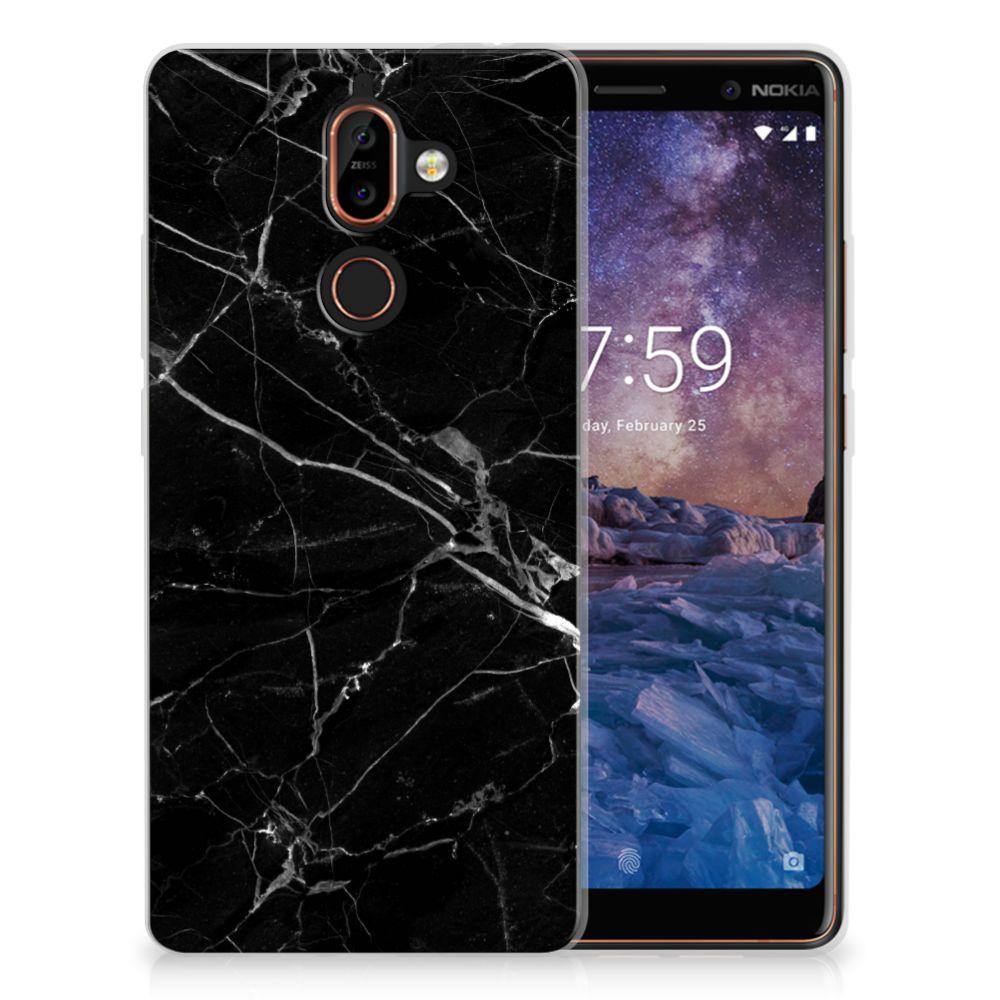 Nokia 7 Plus Uniek TPU Hoesje Marmer Zwart