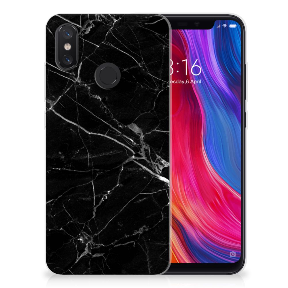 Xiaomi Mi 8 TPU Siliconen Hoesje Marmer Zwart - Origineel Cadeau Vader