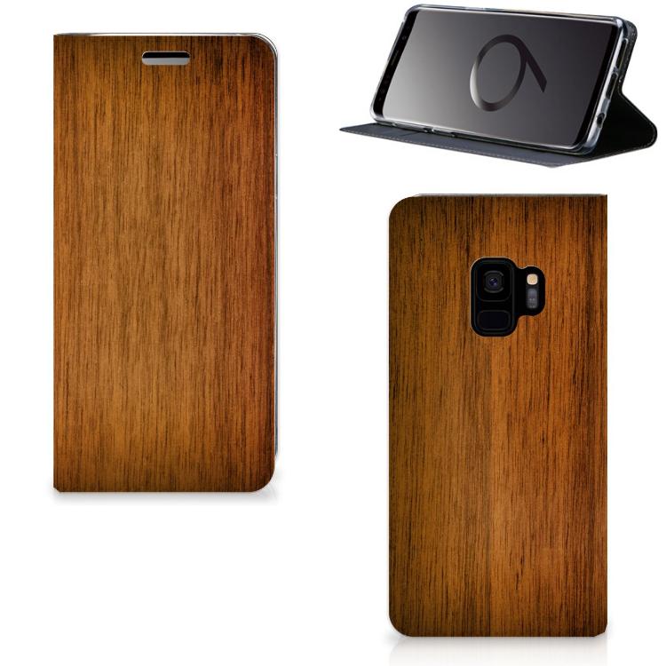 Samsung Galaxy S9 Uniek Standcase Hoesje Donker Hout