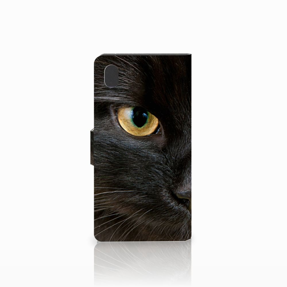 Sony Xperia M4 Aqua Telefoonhoesje met Pasjes Zwarte Kat