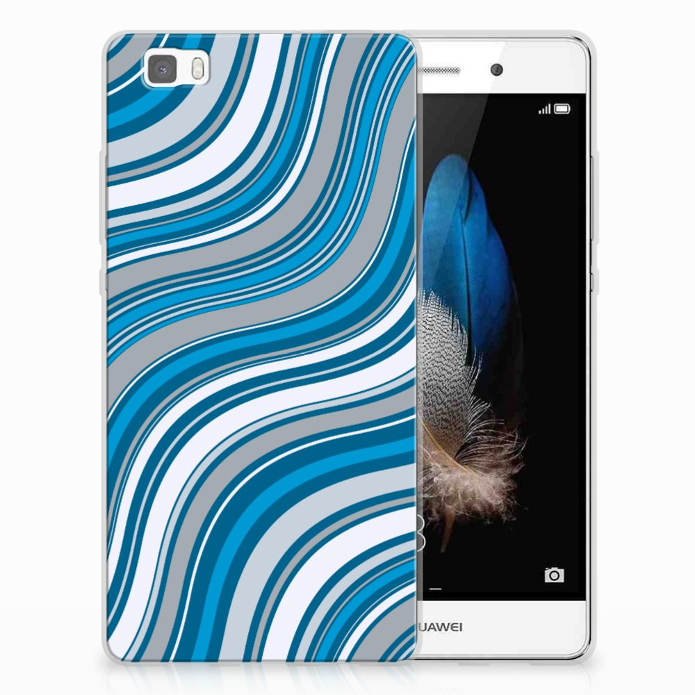 Huawei Ascend P8 Lite TPU Hoesje Design Waves Blue