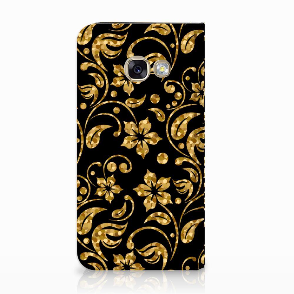 Samsung Galaxy A3 2017 Standcase Hoesje Design Gouden Bloemen
