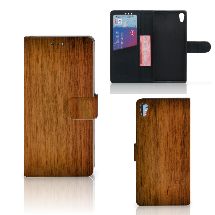 Sony Xperia XA1 Ultra Book Style Case Donker Hout