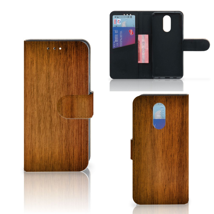 LG Q7 Book Style Case Donker Hout