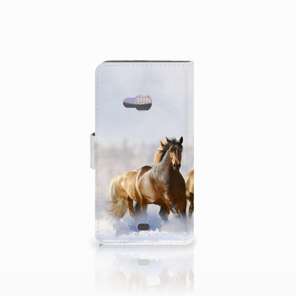 Microsoft Lumia 535 Telefoonhoesje met Pasjes Paarden